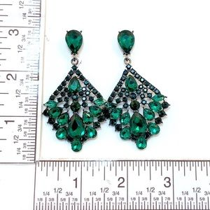 Prom Pageant Bridal Jewelry - Green Crystal Chandelier Occasion Earrings  e2